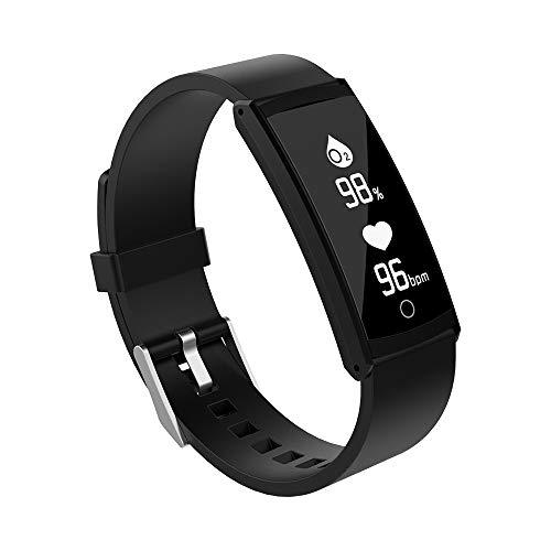 Haihuic Smartwatch Herzfrequenz/Blutdruck/Schlaf-Monitor, Schritt Kalorien Zähler Schrittzähler Wasserdichter Fitness Tracker für iPhone Android |Schwarz - Zähler-monitor Kalorien