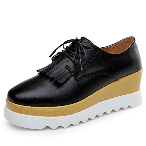 Chaussures occasionnelles en cuir pour le printemps/Cales chaussures/Plate-forme de vent UK chaussures femme/Chaussures avec des semelles épaisses cravate A