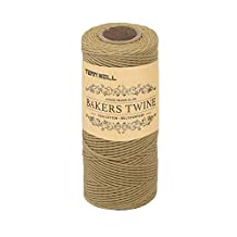 Tenn Well Bakers Twine, 3Ply Kitchen Cotton Twine Food Safe Cooking String for Trussing and Tying Poultry Meat 328Feet/100M Brown Tenn Well