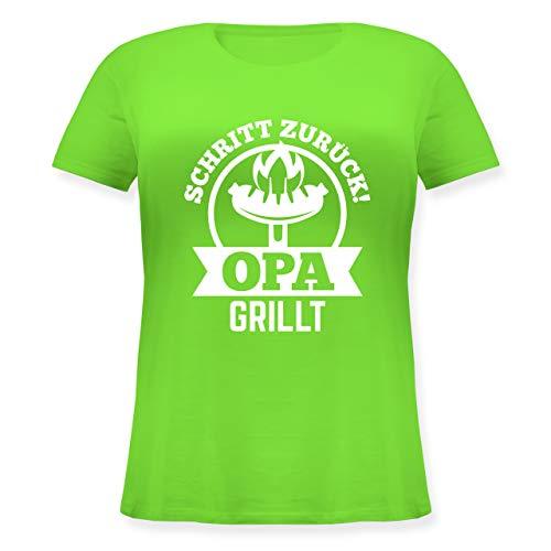 Grill - Schritt zurück Opa grillt - XL (50/52) - Hellgrün - JHK601 - Lockeres Damen-Shirt in großen Größen mit Rundhalsausschnitt