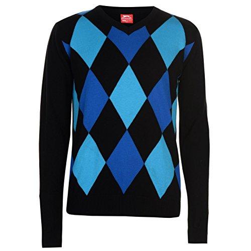 Slazenger Herren Argyle Golf Pullover Langarm V Ausschnitt Schwarz/Blau L (Golf-pullover Blau)