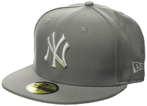 New Era Erwachsene Baseball Cap Mütze Mlb Basic New York Yankees 59Fifty Fitted, Grau (Light Grey), 7 1/4