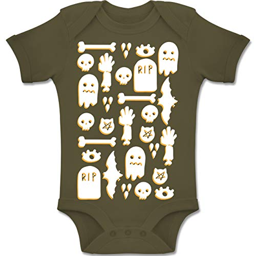 Shirtracer Anlässe Baby - Halloween Totenkopf Mosaik - 6-12 Monate - Olivgrün - BZ10 - Baby Body Kurzarm Jungen Mädchen