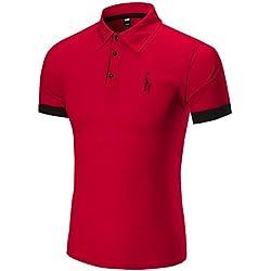 Angebote,Neue Deals,Herren T-Shirt Ronamick Mode Business Männer Casual Slim Kurzarm Fawn T Shirt Top Bluse (Rot, XL)