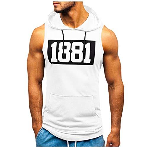 UJUNAOR Tank Top Herren Slim Fit Basic T-Shirt Tankshirt Mit Kapuze Ärmellos Muskelshirt Fitness Unterhemden