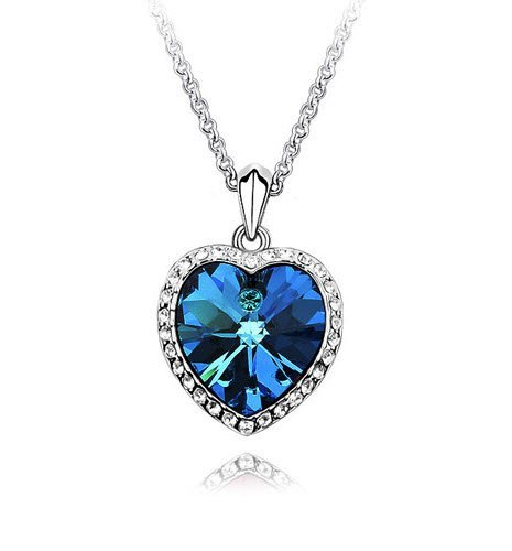 Shining Diva Fashion Valentine Titanic Inspired Blue Sapphire Heart Pendant Necklace for Girls and Women  available at amazon for Rs.299
