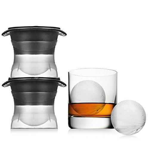 XXL Eiskugelform für runde Jumbo Eiswürfel - 2er Set Eiswürfelform aus Silikon 6cm Durchmesser - BPA Frei
