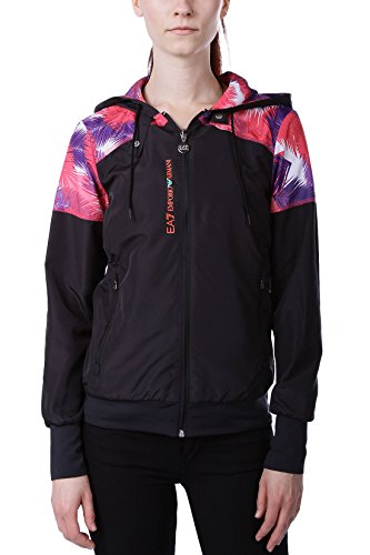 Emporio Armani EA7 Damen Laufjacke aus der Vigor 7-Serie - Leichte Jacke, Trainingsjacke mit Palmen-Print, Logo und Kapuze - Black, Farbe:Schwarz;Größe:L