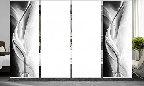 wohnfuehlidee 4er Set Raumteiler Deko blickdicht JANKA grau, Höhe 245 cm, 2x Dessin/2x weiß -
