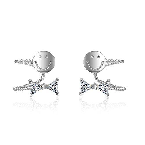 Exotische Art Mode Einfach Niedlich Smiley Ohne Ohr-Loch-Clip Diamant Zirkon Anti-Allergie-Ohrringe Copper White Gold