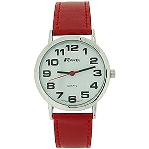 grosse montre ravel pour femme au cadran blanc bracelet rouge avec boucle montres. Black Bedroom Furniture Sets. Home Design Ideas