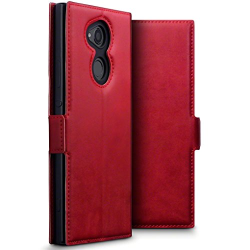 TERRAPIN, Kompatibel mit Sony Xperia XA2 Ultra Hülle, ECHT Leder Börsen Tasche - Ultra Slim Fit - Betrachtungsstand - Kartenschlitze - Rot