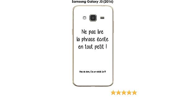 Onozo Coque Samsung Galaxy J3 (2016) Design Citation Rebelle Texte Noir Fond Blanc