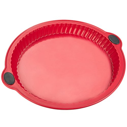 Levivo Silikon Tartes-Backform (Silikon-Kuchenform, Kuchen-/Silikonbackform, Silikon Auflaufform, ∅ 26 cm) rot