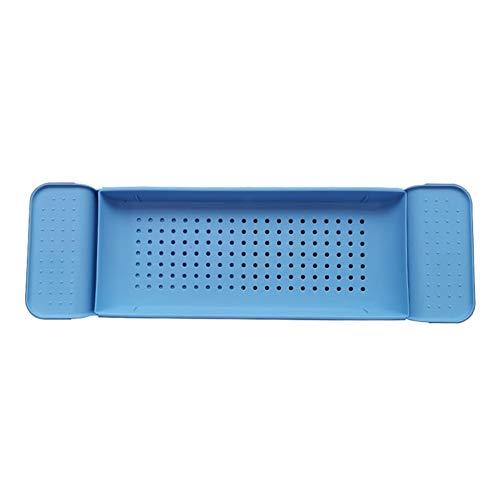 PLLXY Badewannenablage,ausziehbar Badetischregal Multifunktionale Kunststoff Badewannenbrett Bad Regal Mit Nicht-schlupfgriff-blau