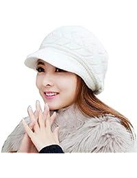 heekpek Cable Tricot Visor Hat Dames Hiver Crochet Peaked Beanie Cap  Accessoires d hiver en bfa5a27c810