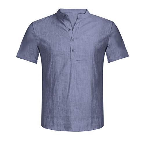 Beonzale Herren Sommer New Casual Slim Fit Umlegekragen Shirt Männer Casual Bluse Baumwolle Leinen T-Shirt Lose Tops Kurzarm T-Shirt White Linen Cropped Pants