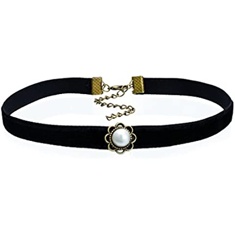 Pearl Choker Coller Necklaces Vintage Bronze Flower Roman Black Velvet Leather Jewelry For Women