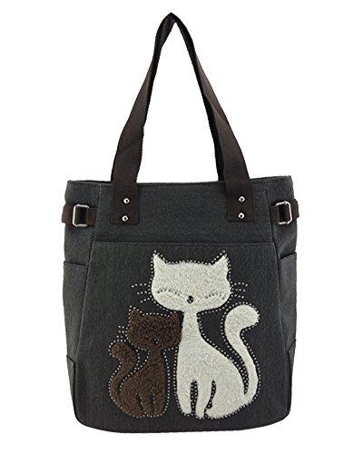 Damen Schultertasche Canvas Damen Handtasche Niedliche Katzen Tasche Denim Blau Schwarz Grau