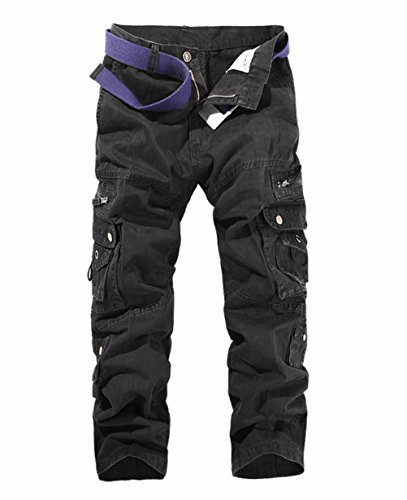 LANBAOSI Hommes Pantalon en Coton Armée Cargo Pantalon Camouflage Camo, Noir, 32.5W
