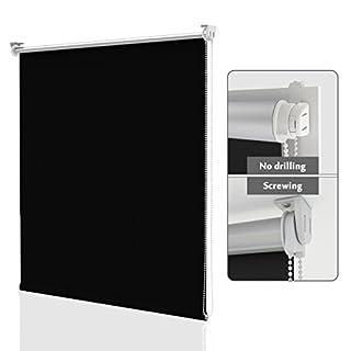 HOMEDEMO Store Enrouleur Occultant Isolant Thermique Opaque Noir 75 x 170 cm Rideau occultant Fixation avec ou sans perçage