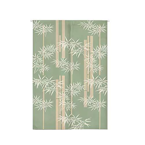 Insun Tür Vorhänge Japanische Noren Tapisserie Wandteppiche Baumwolle Leinen Raumteiler Thermovorhang mit Teleskopstange Elegant Bambus 70cm X 120cm
