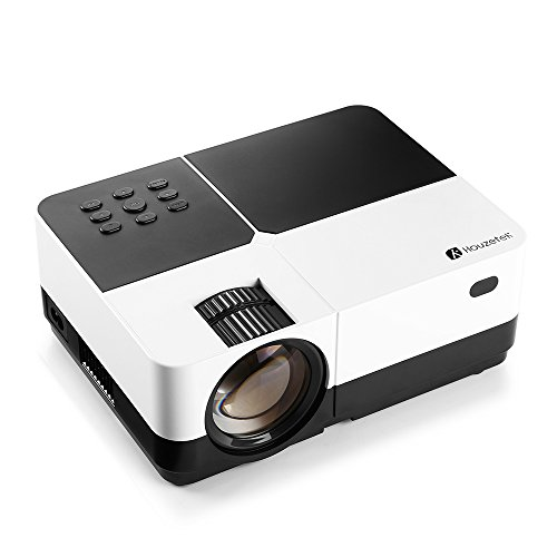 Proyector de Vídeo, Houzetek Proyector LED con Lúmenes 3000, Proyector Protátil Soporte 1920 x 1080P, Proyector VGA/HDMI/USB/SD Card/AV, Proyector Full HD con Altavoz HiFi Soporte 4:3/16:9 y Bajo Consumo