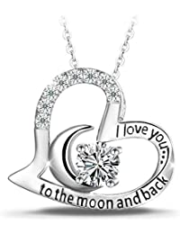 "T400 Jewelers Sterling Silver ""I Love You to the Moon and Back"" Love Heart Zirconia Pendant Necklace, 18"" Love Gift"