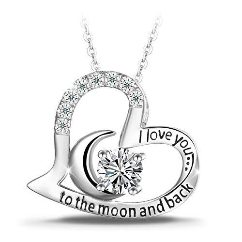 """T400 Jewelers Halskette Silber mit Herz Anhänger """"I Love You to the Moon and Back"""" – Das perfekte Geschenk für Sie, Valentinstag Geschenk"""