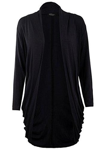 Fast Fashion - Gilet Long Jersey en Viscose Froncé style Boyfriend - Femme Noir