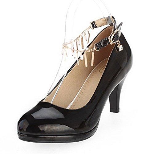 VogueZone009 Femme Pu Cuir Couleur Unie Boucle Rond à Talon Correct Chaussures Légeres Noir