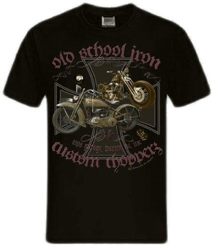 Biker Shirt T-Shirts Milwaukee Iron Chopper Bobber Route 66, Skull V2 Motorrad Oldschool iron Route 66 schwarz