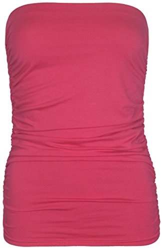 Purple Hanger - Haut Pour Les Femmes Style Bandeau Tube Sans Bretelle Extensible Souple Élastique Fronce Sans Manche Uni Cerise
