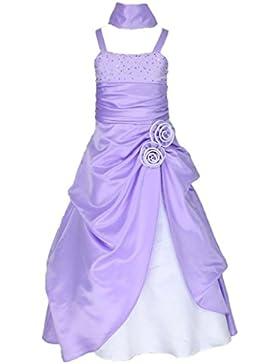 Satin Brautjungfern Anlässe Festzug Blumenmädchen Kleid 4 bis 14 Jahre