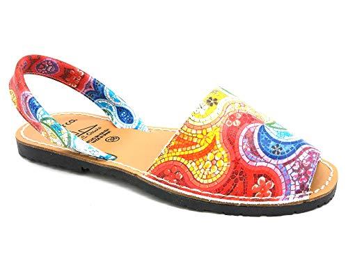 Avarca - Made In Spain - Damen Echt-Leder Sandalen mit Mosaik-Muster bunt-rot - schöne, Bequeme und offene Menorca Avarcas Sommer Schuhe für Stadt, Strand und Urlaub - 355 Gr. 39 -