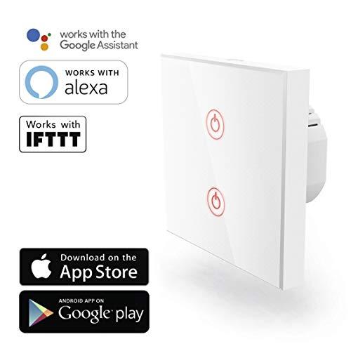 Hama Wi-Fi Touch Lichtschalter/WLAN Glas Wandschalter (kompatibel mit Alexa/Google Home, Unterputz, ohne Hub, Timer, App-/Sprachsteuerung (z.B. Echo Dot), 2 Lampen steuerbar (2-Weg), 2,4GHz, IFTTT)
