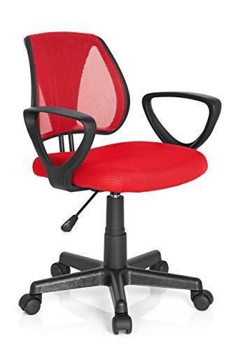 hjh OFFICE 725103 Kinder- und Jugenddrehstuhl KIDDY CD Netzstoff Rot höhenverstellbarer Schreibtischstuhl mit Armlehnen