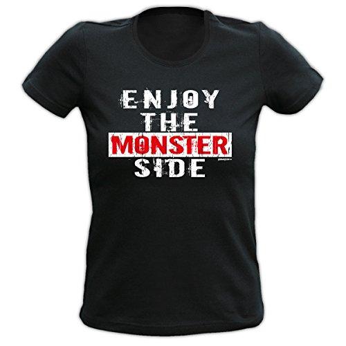 Halloween Girlie T-Shirt Enjoy the Monster Side Halloweenparty Trick or Treat Halloween Shirt Party Gruselparty Gr: Farbe: schwarz Schwarz