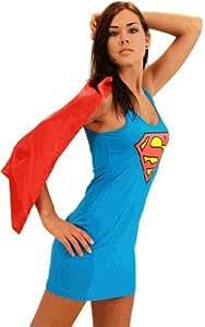 DC Comics Superman Supergirl Blue & Red Costume Tank Dress with Attachable Cape (Supergirl) (Juniors Medium)