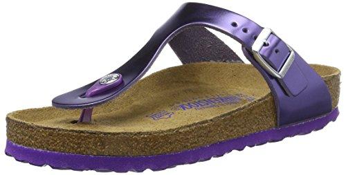 BIRKENSTOCK Damen Gizeh Leder Softfootbed Zehentrenner, Violett (Metallic Violet), 35 EU