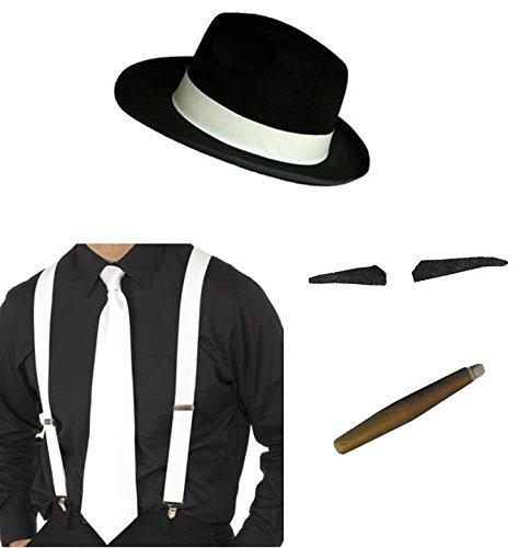 Hosenträger, Krawatte, Spiv Tash Jumbo Zigarre Fancy Kleid 1920er 20s Mafia (Gangster-kleid)