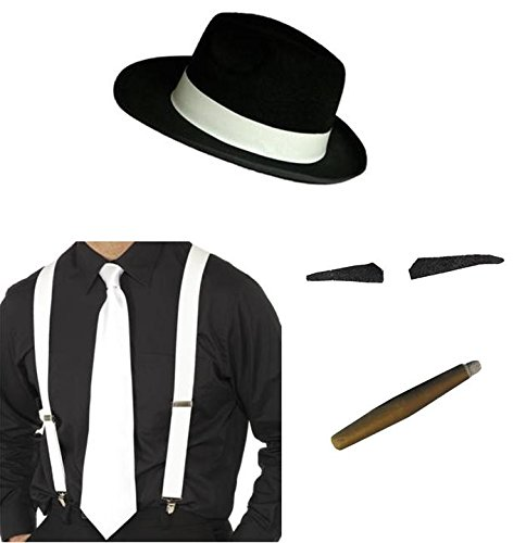 Gangster Hat, weiß Hosenträger, Krawatte, Spiv Tash Jumbo -