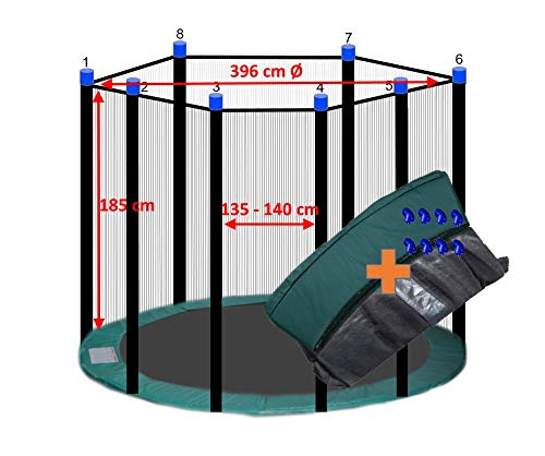 awshop24 Trampolin Randabdeckung Grün + Sicherheitsnetz 8 Stangen 396-400 cm Ø