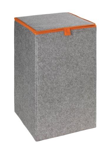 WENKO 3440401100 Wäschesammler Uno Filz Orange - Wäschekorb, Fassungsvermögen 55 L, Filz, 32 x 54 x 32 cm, Grau