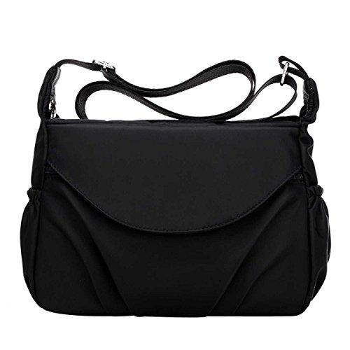 Frauen Casual Schultertaschen Wasserdichte Multi Taschen Nylon Handtaschen Black