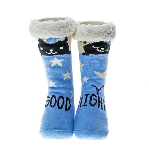 Slipper Socks Women Girls Premium Soft Home Socks Size 4 5 6 7 8 - Novelty Owl Dog Cat Fluffy and Furry Slipper Sock - Beautiful Present - NON SLIP (Blue Sky - Good Night Cat)