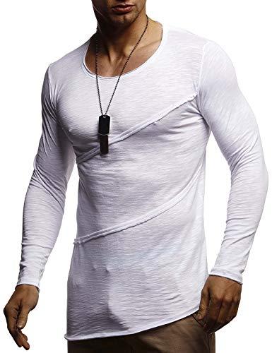 LEIF NELSON Herren Langarmshirt Rundhals-Ausschnitt | Männer Longsleeve Sweater | dünner Pulli Sweatshirt Pullover Crew Neck | Jungen T-Shirt Langarm Oversize | LN1-80107 Weiss X-Large -