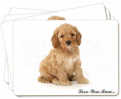 Cockerpoodle Puppy 'Love You Mum' Bild Tischsets in Geschenkbox Weihnachten Tisc