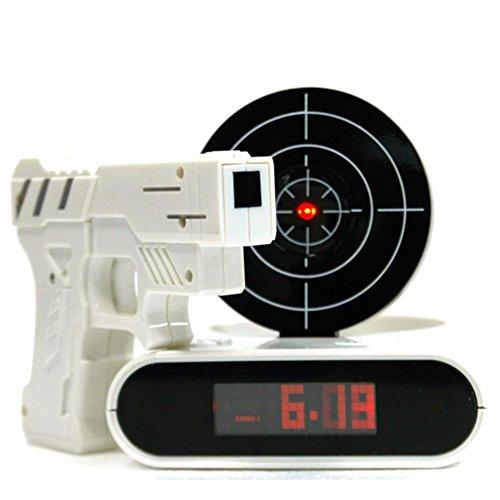 Wecker Set Infrarot Gun Wecker Schießen Ziel Deaktivieren Requisiten Novel Schießen Glocke LED Wecker Wohnkultur (Batterie Nicht Enthalten) , 2