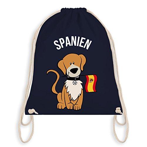 Fußball-Weltmeisterschaft 2018 Kinder - Fußball Spanien Hund - Unisize - Navy Blau - WM110 - Turnbeutel I Gym Bag (Welpen-flag)